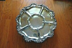 Poole Lancaster Rose Silverplated Lazy Susan/revolving Server 19.5 5027 Ep