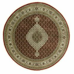 8and0392x8and0392 Red Wool And Silk Tebaz Mahi Fish Design Oriental Round Rug R58812