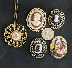 Set Of 5 Vintage Cameo Lady Head Victorian Floral Brooch Pin Great Value