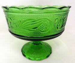 Vintage Forest Green 6.25 Depression Candy Glass Bowl Footed Eo Brody 5.5 Tall