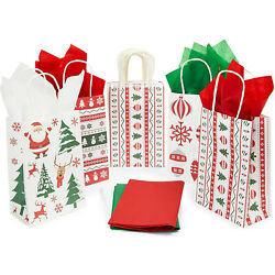 24 Christmas Party Gift Bags 24 Sheets Of Tissue Paper 8 X 5.3 X 3.15 In