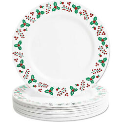 Plastic Plates With Foil Edge For Christmas, Reusable Plate 10.25 In, 24 Pack