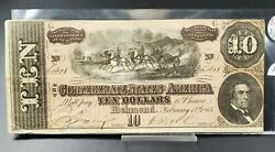 1864 Civil War Confederate States Currency 10 Note Ten Dollar Bill Csa Vf Very