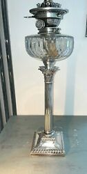 Antique Silver Plate Hinks Baccarat Cut Glass Oil Lamp