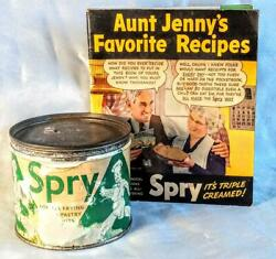 Vintage Spry Vegetable Shortening 1 Lb. Tin Canplus Spry Recipe Book