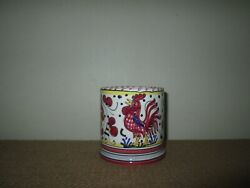 Deruta Hand Painted Italian Pottery Rooster And Flora Coffee Tea Cup Mug