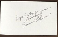 Vivian Blaine Signed Index Card Autographed 1993 Autographed Guys And Dolls