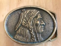 Bts Solid Brass Belt Buckle.native Indian. Usa 1978.heavy. Size 80x60mm