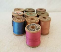 Vintage Silk Thread 1 Wooden Spools 10 Count Variety Of Colors 5 Different Co.