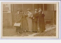 Real Photo Postcard Rppc Five Women In Tailored Coats And Men's Hats Lesbian Int