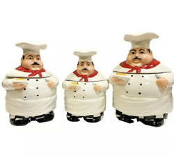 Casa Vero By Ackusa Set 3 Fat Chef Canister Cookie Jar Kitchen Container Ceramic