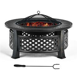 32 Round Fire Pit Set W/ Rain Cover Bbq Grill Log Grate Poker