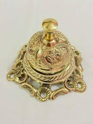 Solid Brass Ornate Hotel Front Desk Top Bell Vintage Service Counter Bell Cell B