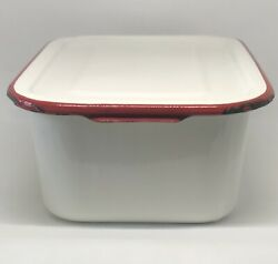 """Vintage Enamel Ware 12""""x8"""" Rectangular Pan With Lid White With Red Trim 🌻"""