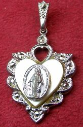 Vintage 1930 Catholic Miraculous Medal Centennial Theda Sterling Rosary Medal