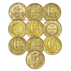 Lot Of 10 20 Franc Angels Xf-au European French Lucky Angel Gold Bullion Coins