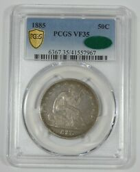 1885 Liberty Seated Silver Half Dollar Certified Pcgs Secure Plus And Cac Vf 35