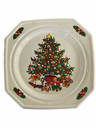T. Cathey Vintage Square Plastic Christmas Plates Set Of 12 Holiday Entertain