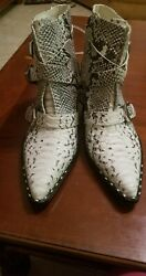 Women Gianni Bini Jaydda Snake Print Ankle Boots With Buckles In The Front