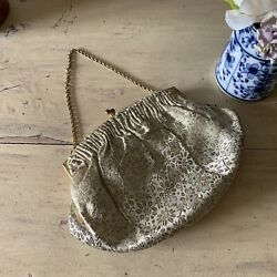 Beautiful Vintage French Gold Cream Purse Evening Bag - 1950s - 17x12cm And Chain