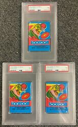 3 1979 Topps Football Unopened Wax Pack Psa 7 Lot