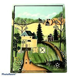 Vintage Handcrafted Folk Art Hanging Wood Key Box Amish Countryside And Quilts