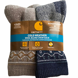 Cold Weather Wool Blend Crew Socks Womenand039s 4 Pair M 5.5-11.5 New