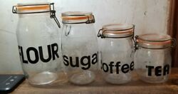 Vtg 4 Pc Triomphe France Glass Canister Set Wire Bale Lid Lock Black Letters