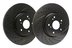 Sp Performance Black 320mm Drilled And Slotted Brake Rotors For 2010-11 Audi S4