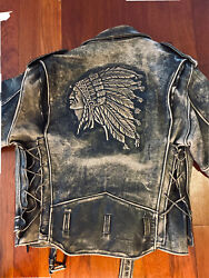 Vintage Leather Motorcycle Jacket Iron Horse Angry Native American Design