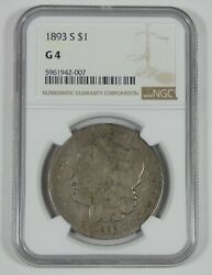 1893-s Morgan Dollar Certified Ngc G 4 Silver Dollar Key Date Of The Series