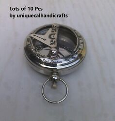 Pack Of 100 Vintage Collectible Style Push Button Brass Compass Chrome Finish