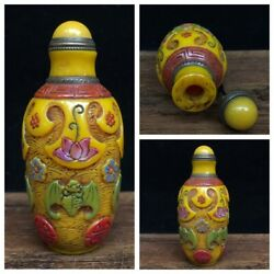 Chinese Beijing Carved Glass Snuff Bottle Yellow Antique Statue Bat Painted Rare