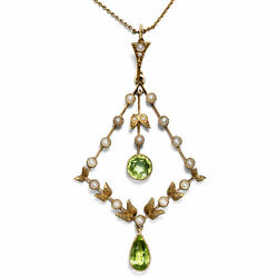 Peridot And Pearls Antique Pendant With Necklace In Gold Um 1905 Nouveau England