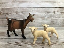 Lot Of 2 Schleich Lamb Standing Sheep Baby Animal Farm Figure 2013 And Goat 1993