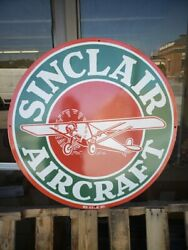 Large Vintage Sinclair Aircraft Single Sided Without Bracket 30and039porcelain Sign