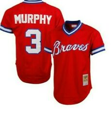 Authentic Mitchell And Ness Atlanta Braves 3 Baseball Jersey New Mens 90