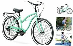 Electric-bicycles 17inch/one Size Mint Green W/ Black Seat/grips 26 / 7-speed