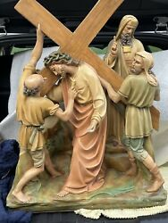 Antique Jesus At Second Station Of The Cross Statue 30andrdquo Tall Catholic Christian