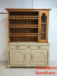 Bausman French Country Primitive Hutch China Cabinet Shelf Display