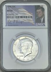 1964 P Ngc Ms67 Silver Kennedy Half Dollar Signature Flag Label 90 Coin Jfk