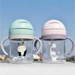 Suction Bottle Handle Feeding Drinking Cup Toddler Water Children Learn Straw