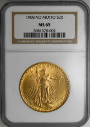 1908 20 No Motto St. Gaudens Ngc Ms65 Old Holder Premium Gold Coin