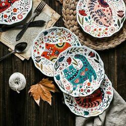 8inch Hand Painted Plates Colorful Ceramic Dinnerware Home Floral Livingware