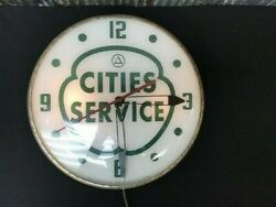 Cities Services Gas Station Clock, Lighted Pam Clock, Vintage Advertising Sign,