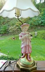 Vintage Porcelain Table Lamp With Figurine Of Goose Girl--pink White-silk Shade