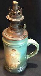 Antique Women's Fencing Miniature Oil Lamp Porcelain Mug Woman W/ Epee And Heart