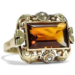 Antique Cocktail Ring Citrine In Yellow And Red Gold 1930er Years Art Dandeacuteco