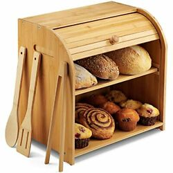 Large Bread Box For Kitchen Countertop Andndash 2 Tier Roll-top Bamboo Bread Keeper ...
