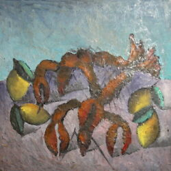 Vintage Oil Painting Still Life With Lemons And Lobsters